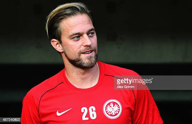 Goalkeeper Timo Hildebrand of Frankfurt looks on prior to the Bundesliga match between Eintracht Frankfurt and 1 FC Koeln at CommerzbankArena on...