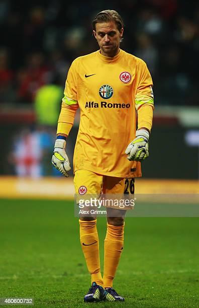 Goalkeeper Timo Hildebrand of Frankfurt reacts during the Bundesliga match between Eintracht Frankfurt and Hertha BSC at CommerzbankArena on December...