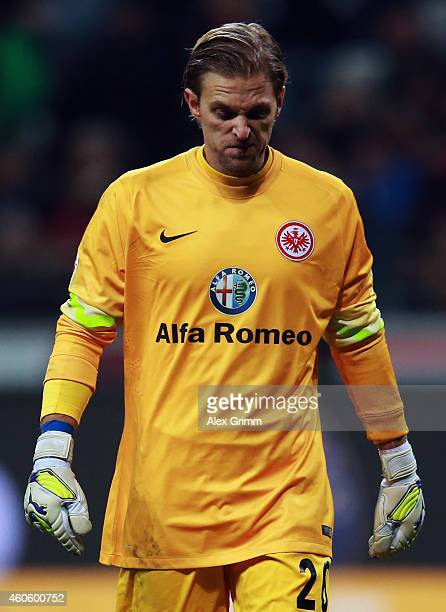 Goalkeeper Timo Hildebrand of Frankfurt reacts during the Bundesliga match between Eintracht Frankfurt and Hertha BSC at CommerzbankArena on December...