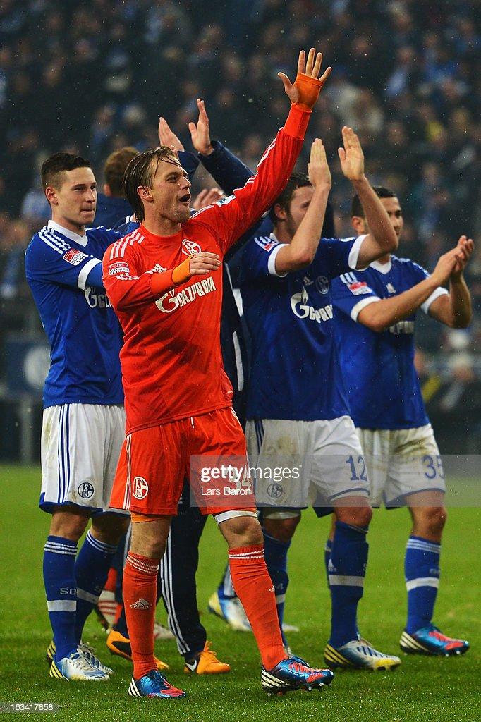 Goalkeeper Timo Hildebrand of Schalke celebrate with team mates after winning the Bundesliga match between FC Schalke 04 and Borussia Dortmund at Veltins-Arena on March 9, 2013 in Gelsenkirchen, Germany.