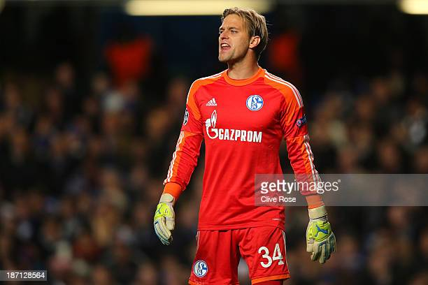 Goalkeeper Timo Hildebrand of Schalke reacts during the UEFA Champions League Group E match between Chelsea and FC Schalke 04 at Stamford Bridge on...