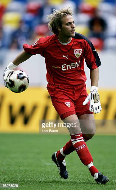 Goalkeeper Timo Hildebrand of Stuttgart in action during the Premiere Liga Cup Match between Hertha BSC Berlin and VFB Stuttgart at the LTU Arena on...