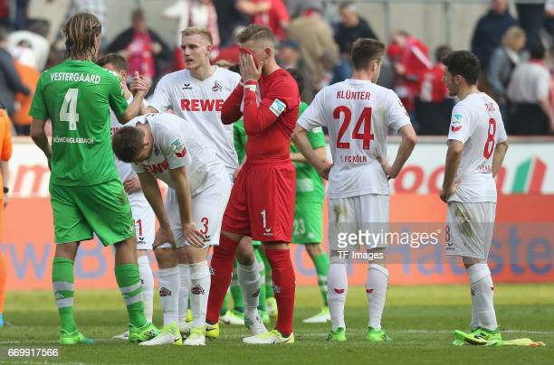 Goalkeeper Timo Horn looks dejected during the Bundesliga Match between 1FC Koeln and Borussia Moenchengladbach at RheinEnergieStadion on April 08...