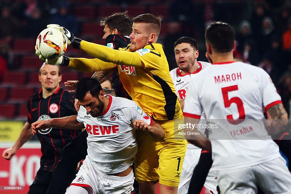 Goalkeeper <a gi-track='captionPersonalityLinkClicked' href=/galleries/search?phrase=Timo+Horn&family=editorial&specificpeople=5385076 ng-click='$event.stopPropagation()'>Timo Horn</a> of Koeln makes a save during the Bundesliga match between 1. FC Koeln and Eintracht Frankfurt at RheinEnergieStadion on February 13, 2016 in Cologne, Germany.