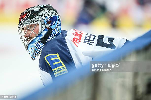 Goalkeeper Timo Pielmeier of Ingolstadt looks on prior to the DEL Playoffs Final Game 1 between Adler Mannheim and ERC Ingolstadt at SAP Arena on...