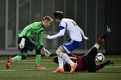 Goalkeeper Timon Wellenreuther of Germany vies for the ball during the 2017 UEFA European U21 Championships Qualifier between U21 Faroe Islands and...