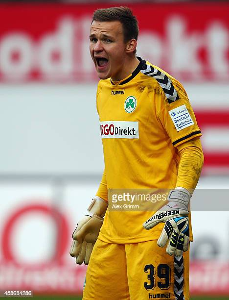 Goalkeeper Tom Mickel of Greuther Fuerth reacts during the Second Bundesliga match between Greuther Fuerth and Karlsruher SC at TrolliArena on...
