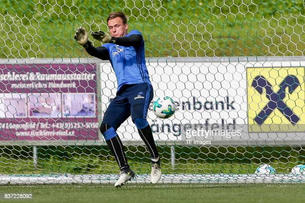 Goalkeeper Tom Mickel of Hamburg controls the ball during the Training Camp of Hamburger SV on July 22 2017 in Laengenfeld Austria