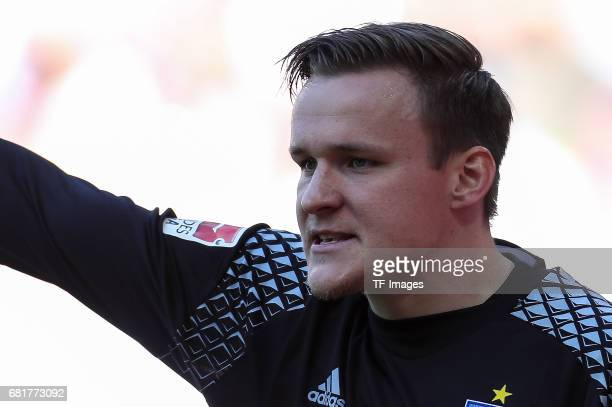 Goalkeeper Tom Mickel of Hamburg looks on during the Bundesliga match between FC Augsburg and Hamburger SV at WWK Arena on April 30 2017 in Augsburg...