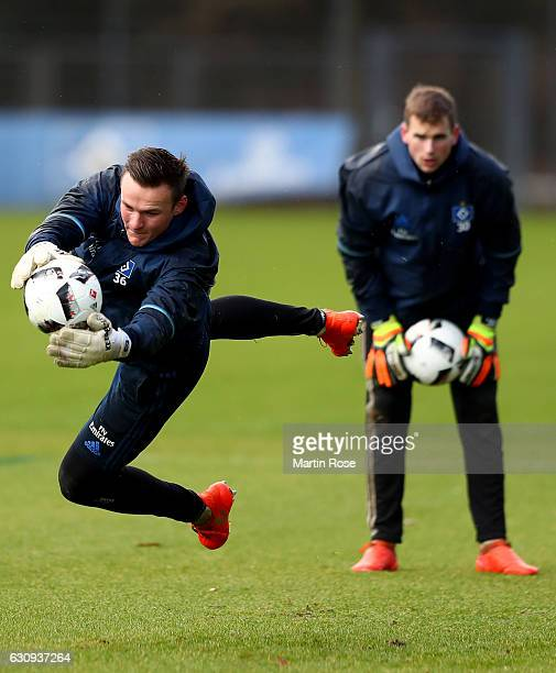 Goalkeeper Tom Mickel saves the ball during a training session of Hamburger SV at Volksparkstadion on January 4 2017 in Hamburg Germany
