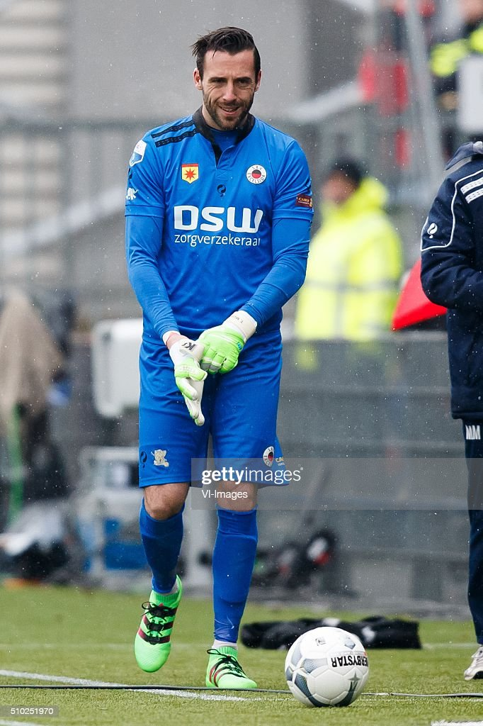 goalkeeper Tom Muyters of Excelsior during the Dutch Eredivisie match between Excelsior Rotterdam and ADO Den Haag at Woudenstein stadium on February 14, 2016 in Rotterdam, The Netherlands