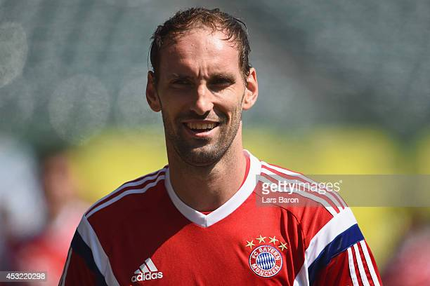Goalkeeper Tom Starke looks on during a training session at the JeldWen Field on day seven of the Bayern Muenchen Audi Summer Tour USA 2014 on August...
