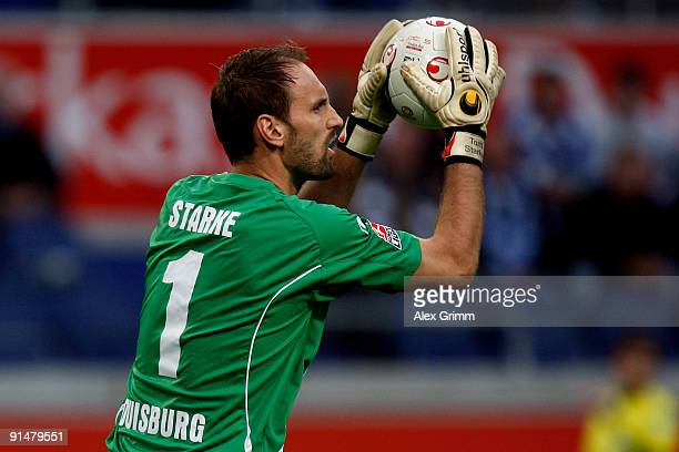 Goalkeeper Tom Starke of Duisburg catches the ball during the Second Bundesliga match between MSV Duisburg and 1FC Union Berlin at the MSV Arena on...