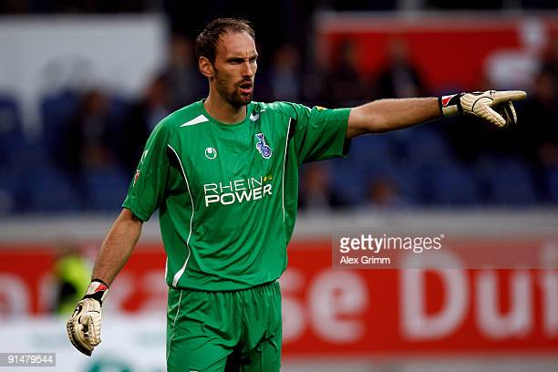 Goalkeeper Tom Starke of Duisburg gestures during the Second Bundesliga match between MSV Duisburg and 1FC Union Berlin at the MSV Arena on October 2...