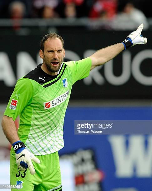 Goalkeeper Tom Starke of Hoffenheim gestures during the Bundesliga match between 1FC Kaiserslautern and TSG 1899 Hoffenheim at FritzWalterStadion on...