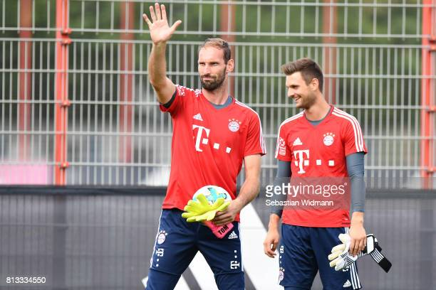 Goalkeeper Tom Starke waves during a training session at Saebener Strasse training ground on July 12 2017 in Munich Germany
