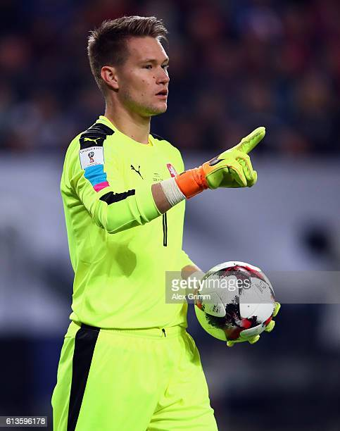 Goalkeeper Tomas Vaclik of Czech Republic reacts during the FIFA World Cup 2018 qualifying match between Germany and Czech Republic at...