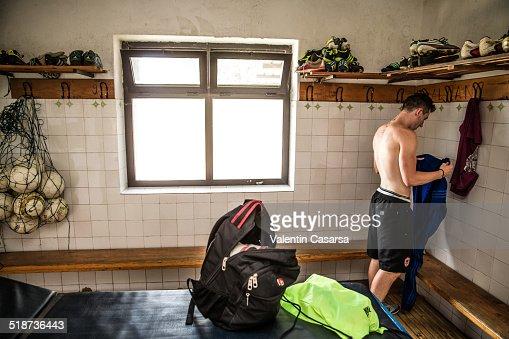 Goalkeeper training : Stock Photo