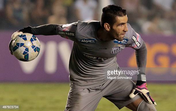 Goalkeeper Vanderlei of Santos in action during a match between Santos v Flamengo of Brasileirao Series A 2015 at Vila Belmiro Stadium on November 19...