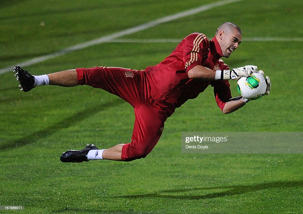 Goalkeeper Victor Valdes of Spain makes a save during a training session ahead of their international friendly against Equatorial Guinea on November 13, 2013 in Las Rozas, Spain.