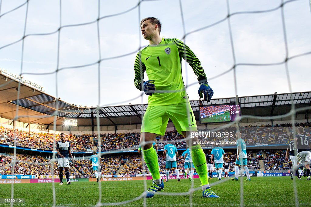 goalkeeper Vid Belec of Slovenia during the international friendly match between Sweden and Slovenia on May 30, 2016 in Malmo, Sweden.
