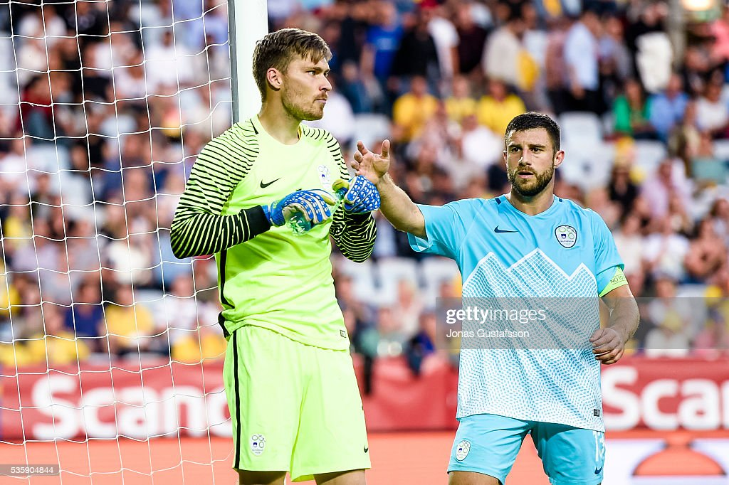 goalkeeper Vid Belec of Slovenia during the international friendly match between Sweden and Slovenia May 30, 2016 in Malmo, Sweden.