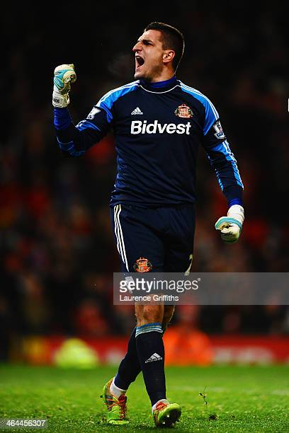 Goalkeeper Vito Mannone of Sunderland celebrates after making a save in the penalty shootout during the Capital One Cup semi final second leg match...