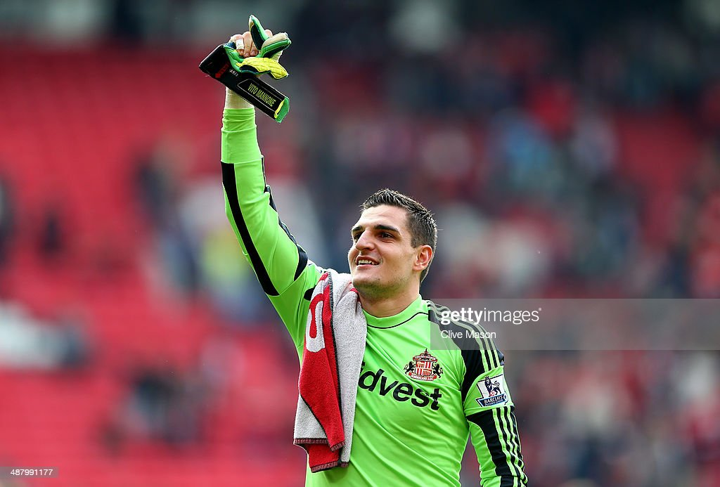 Goalkeeper Vito Mannone of Sunderland celebrates following his team's 1-0 victory during the Barclays Premier League match between Manchester United and Sunderland at Old Trafford on May 3, 2014 in Manchester, England.