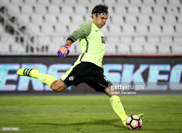 Goalkeeper Vladimir Stojkovic of Partizan in action during the UEFA Europa League Qualifying PlayOffs round first leg match between Partizan and...