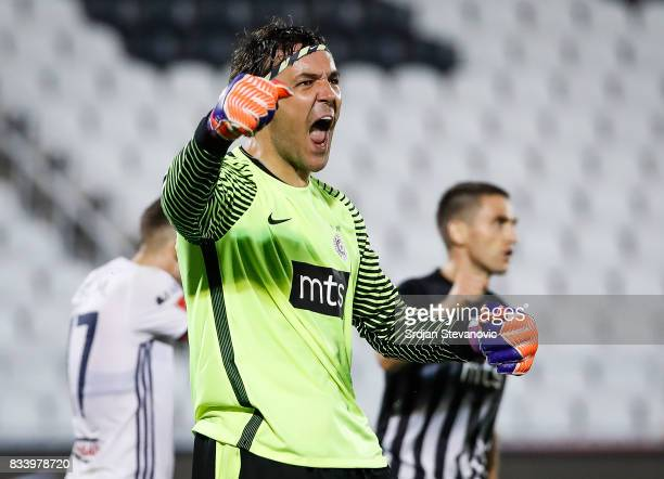 Goalkeeper Vladimir Stojkovic of Partizan reacts during the UEFA Europa League Qualifying PlayOffs round first leg match between Partizan and...