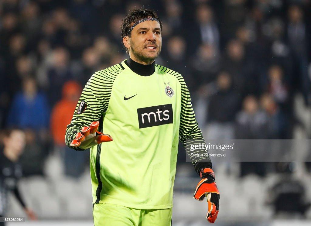 Goalkeeper Vladimir Stojkovicof Partizan reacts during the UEFA Europa League group B match between Partizan and BSC Young Boys at Stadium Partizan on November 23, 2017 in Belgrade, Serbia.