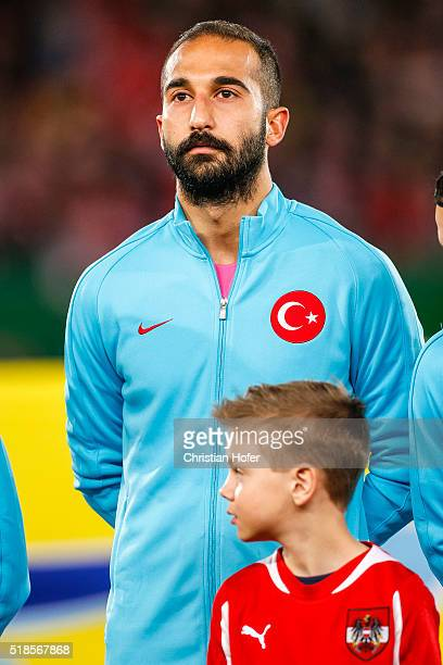 Goalkeeper Volkan Babacan of Turkey lines up during the national anthem prior to the international friendly match between Austria and Turkey at...