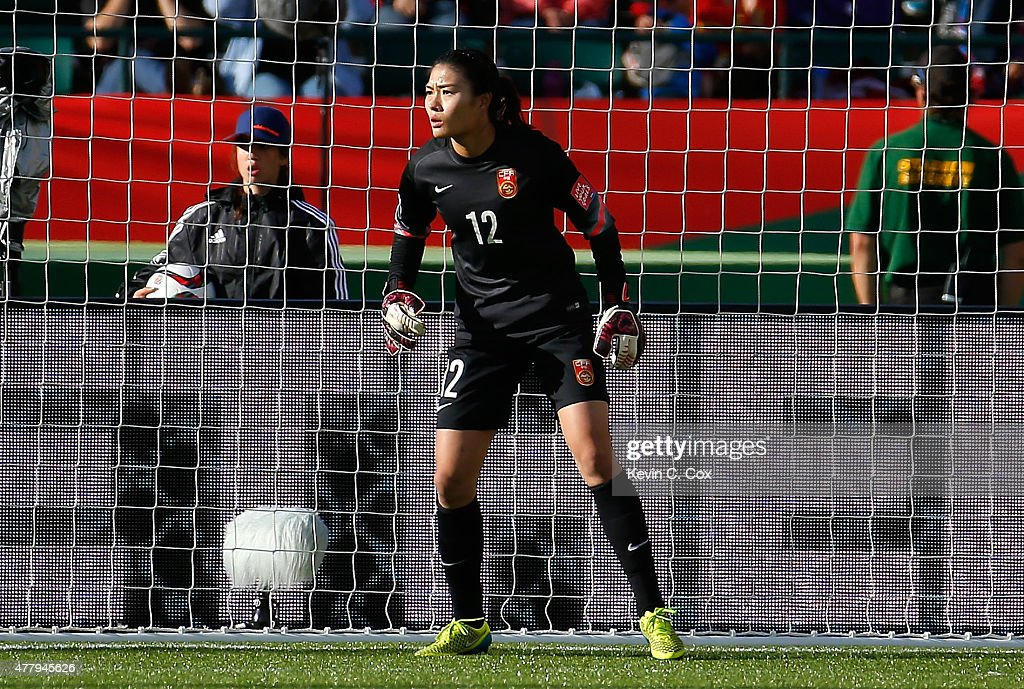 Goalkeeper Wang Fei of China PR against Cameroon during the FIFA Women's World Canada 2015 Round of 16 match between China PR and Cameroon at...