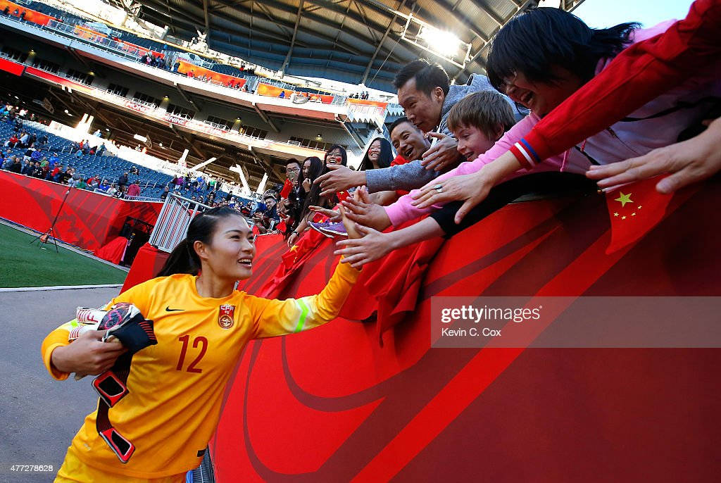 Goalkeeper Wang Fei of of China PR celebrates their 22 tie against New Zealand in the FIFA Women's World Cup Canada 2015 Group A match between China...