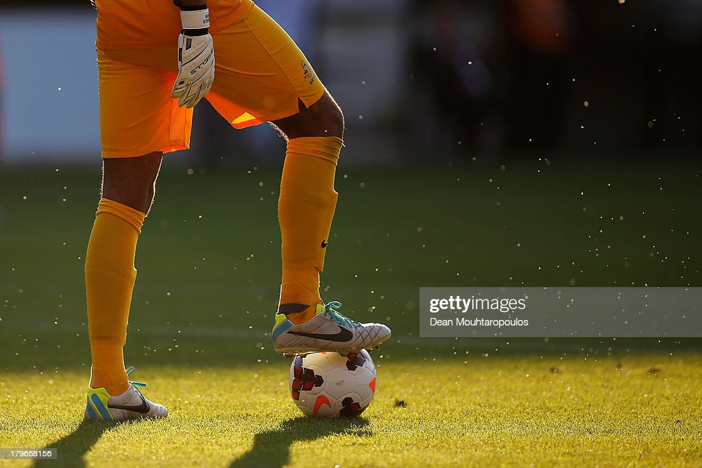 Goalkeeper, Warner Hahn of Netherlands holds the ball at his feet as insects fly around him during the 2015 UEFA European U21 Championships Qualifier between Netherlands U21s and Scotland U21s held at De Goffert Stadion on September 5, 2013 in Nijmegen, Netherlands.