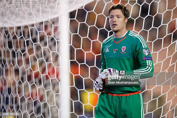 Goalkeeper Wayne Hennessey of Wales looks on during the Group B UEFA European Championship 2016 Qualifier match bewteen Belgium and Wales at King...
