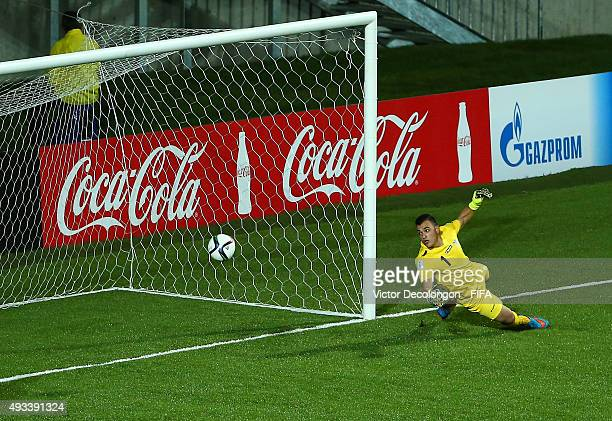 Goalkeeper William Ghannam of Syria watches the ball go into the net for a goal credited to Julio Villalba of Paraguay during the Syria v Paraguay...