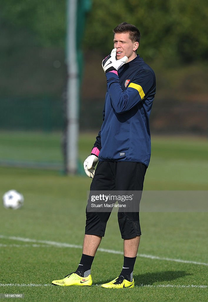 Goalkeeper Wojciech Szczesny of Arsenal takes part in a training session ahead of their UEFA Champions League match against FC Bayern Muenchen at London Colney on February 18, 2013 in St Albans, England.