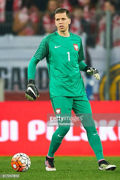 Goalkeeper Wojciech Szczesny of Poland looks at the ball during the international friendly soccer match between Poland and Serbia at the Inea Stadium...