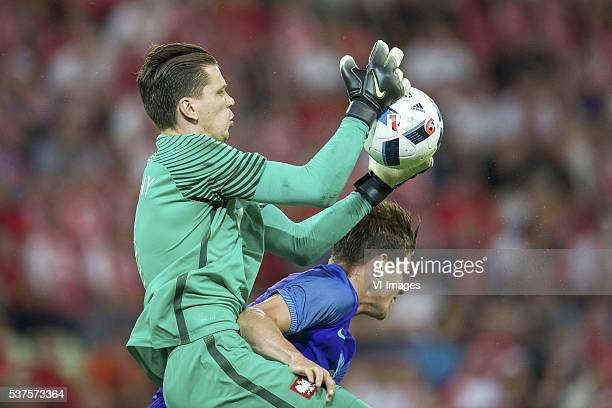 goalkeeper Wojciech Szczesny of Poland Marco van Ginkel of Holland during the International friendly match between Poland and Netherlands on June 1...
