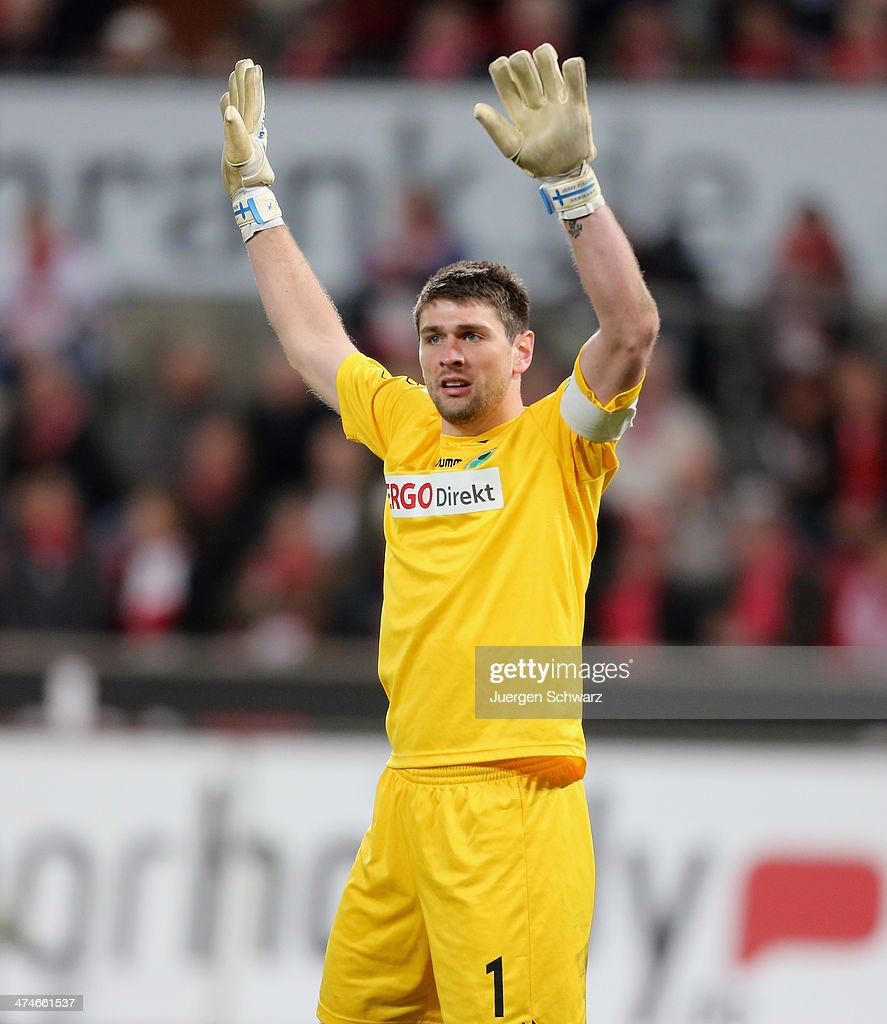Goalkeeper Wolfgang Hesl of Fuerth lifts his arms during the 2nd Bundesliga match between 1. FC Koeln and Greuther Fuerth at RheinEnergieStadion on February 24, 2014 in Cologne, Germany.