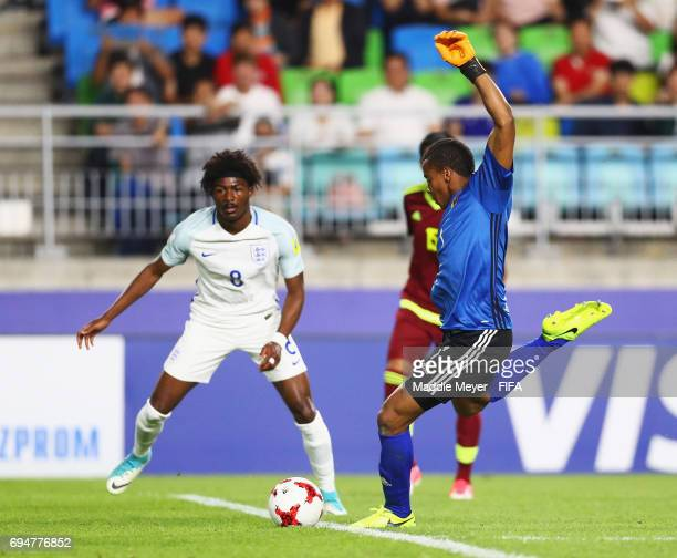 Goalkeeper Wuilker Farinez of Venezuela shoots at goal during the FIFA U20 World Cup Korea Republic 2017 Final between Venezuela and England at Suwon...