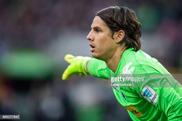 Goalkeeper Yann Sommer is seen during the Bundesliga match between Borussia Moenchengladbach and Bayern Muenchen at BorussiaPark on March 19 2017 in...