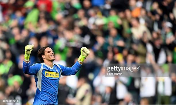 Goalkeeper Yann Sommer of Borussia Moenchengladbach celebrates after team mate Havard Nordtveit of Borussia Moenchengladbach scored his teams third...