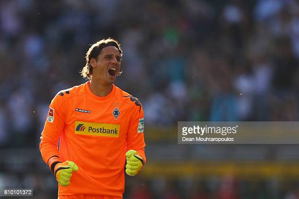 Goalkeeper Yann Sommer of Borussia Moenchengladbach celebrates the goal from Oscar Wendt of Borussia Moenchengladbach after he scores his teams...