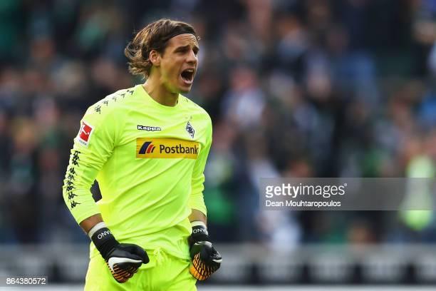 Goalkeeper Yann Sommer of Borussia Monchengladbach celebrates his team scoring a goal during the Bundesliga match between Borussia Moenchengladbach...