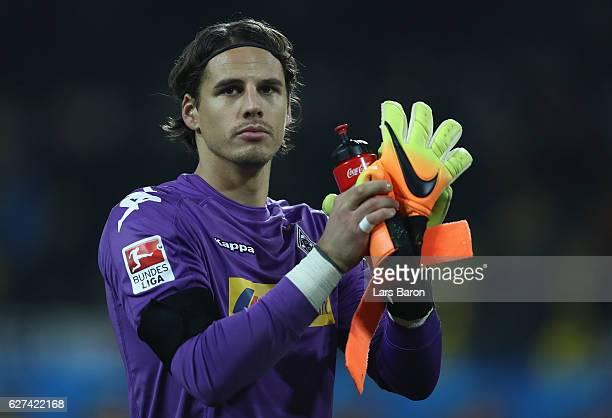 Goalkeeper Yann Sommer of Moenchengladbach is seen during the Bundesliga match between Borussia Dortmund and Borussia Moenchengladbach at Signal...