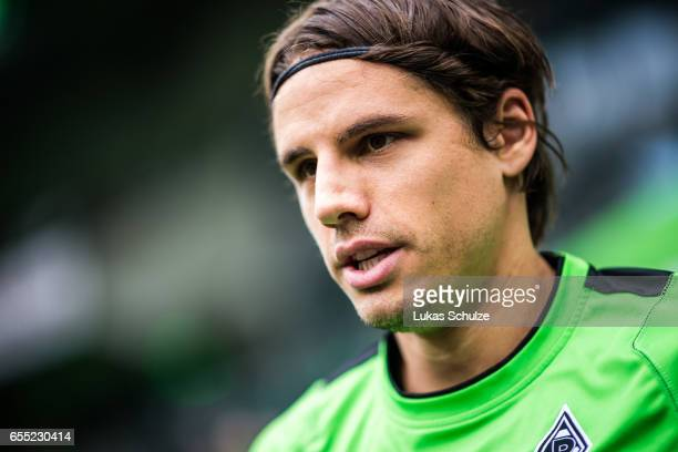 Goalkeeper Yann Sommer of Moenchengladbach is seen prior to the Bundesliga match between Borussia Moenchengladbach and Bayern Muenchen at...
