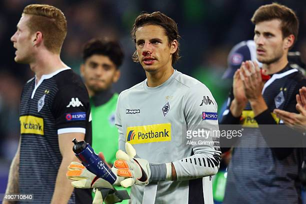 Goalkeeper Yann Sommer of Moenchengladbach reacts after the UEFA Champions League Group D match between VfL Borussia Monchengladbach and Manchester...