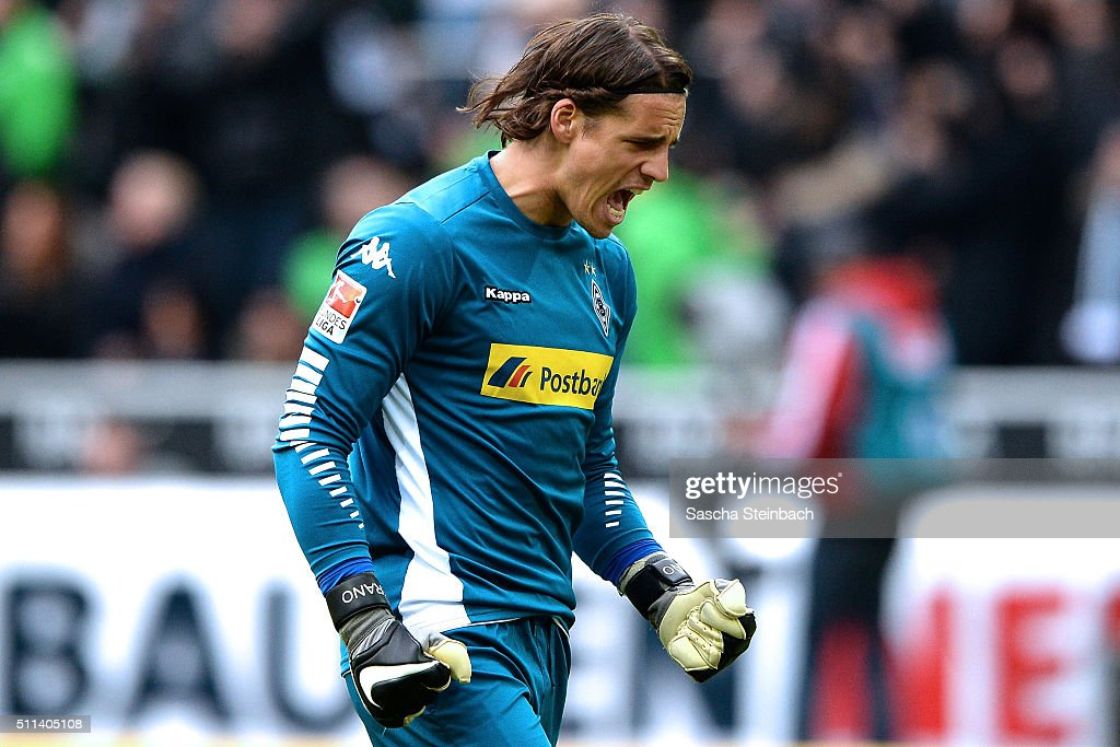 Goalkeeper <a gi-track='captionPersonalityLinkClicked' href=/galleries/search?phrase=Yann+Sommer&family=editorial&specificpeople=5781332 ng-click='$event.stopPropagation()'>Yann Sommer</a> of Moenchengladbach reacts as Mahmoud Dahoud (not pictured) scores the opening goal during the Bundesliga match between Borussia Moenchengladbach and 1. FC Koeln at Borussia-Park on February 20, 2016 in Moenchengladbach, Germany.